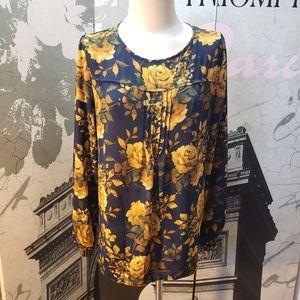 Susan Graver Floral Blouse Size 10